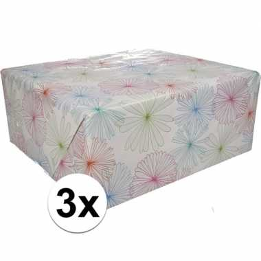 3x inpakpapier met bloemen motief 200 x 70 cm op rol type 1