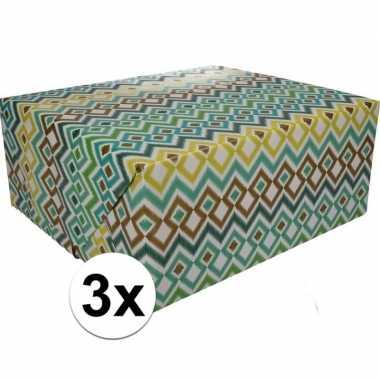 3x inpakpapier met gekleurd motief 200 x 70 cm op rol type 3