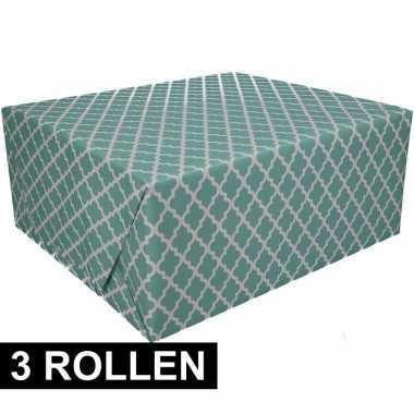 3x inpakpapier met groen design 200 x 70 cm op rol type 2