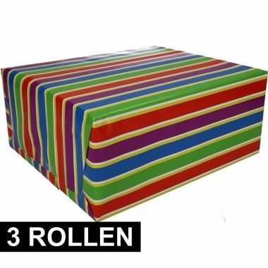 3x inpakpapier met strepen 200 x 70 cm op rol type 1