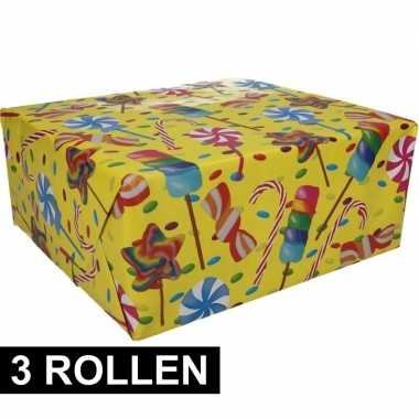 3x inpakpapier snoepjes motief 200 x 70 cm op rol