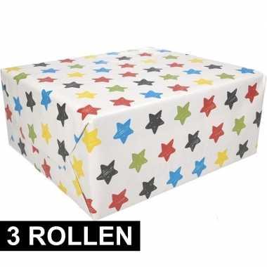 3x inpakpapier sterren motief 200 x 70 cm op rol