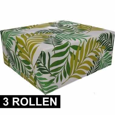3x inpakpapier urban jungle print 200 x 70 cm op rol