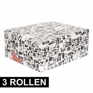 3x inpakpapier van sinterklaas zwart/wit