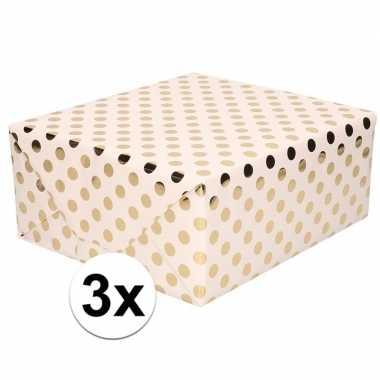 3x lichtroze inpakpapier/cadeaupapier gouden stip 200 x 70 cm