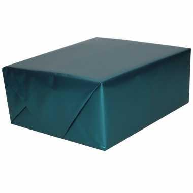 3x luxe inpakpapier/cadeaupapier blauw zijdeglans 150 x 70 cm