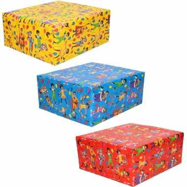 3x rollen inpakpapier/cadeaupapier club van sinterklaas rood/blauw/geel 200 x 70 cm