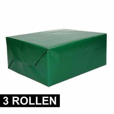 3x rollen inpakpapier/cadeaupapier groen 200 x 70 cm op rol