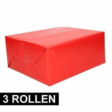 3x rollen inpakpapier/cadeaupapier rood 200 x 70 cm op rol