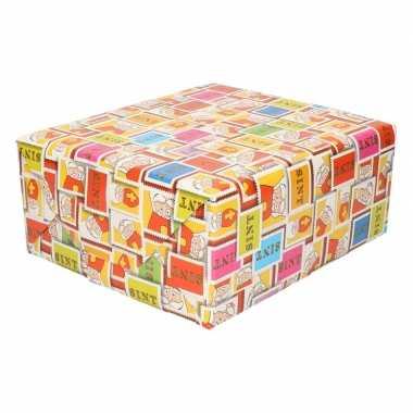 3x sinterklaas inpakpapier/cadeaupapier gekleurd 250 x 70 cm