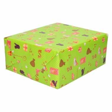 3x sinterklaas inpakpapier/cadeaupapier print groen 250 x 70 cm