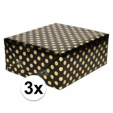 3x zwart folie inpakpapier/cadeaupapier gouden stip 200 x 70 cm
