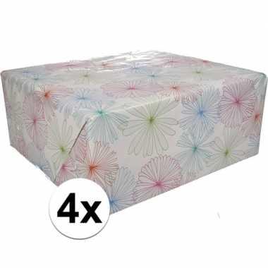 4x inpakpapier met bloemen motief 200 x 70 cm op rol type 1