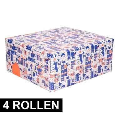 4x inpakpapier van sinterklaas paars