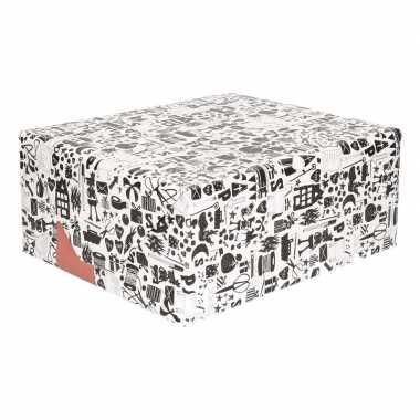 4x inpakpapier van sinterklaas zwart/wit