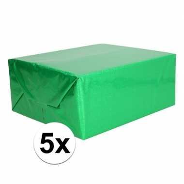 5x holografische groen metallic folie / inpakpapier 70 x 150 cm