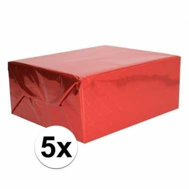 5x holografische rood metallic folie / inpakpapier 70 x 150 cm