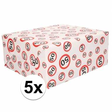 5x inpakpapier/cadeaupapier 50 jaar 300 x 70 cm op rol