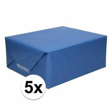 5x inpakpapier/cadeaupapier donkerblauw kraftpapier 200 x 70 cm