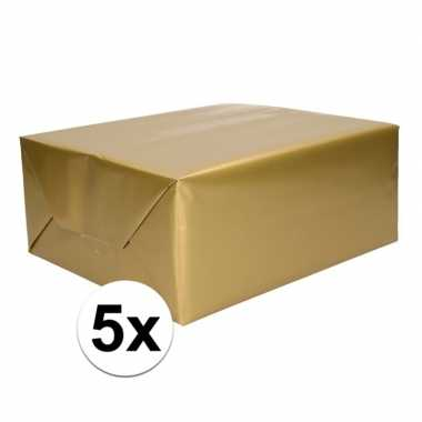 5x inpakpapier/cadeaupapier goud 200 x 70 cm op rol