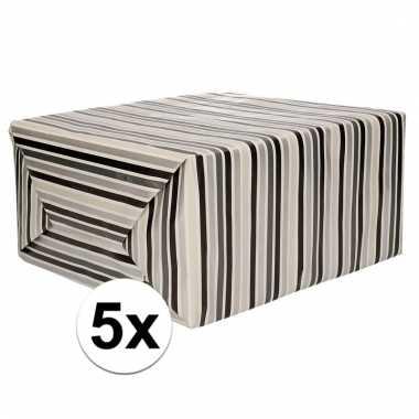 5x inpakpapier strepen 200 x 70 cm