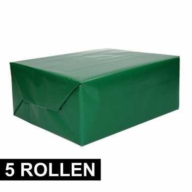 5x rollen inpakpapier/cadeaupapier groen 200 x 70 cm op rol