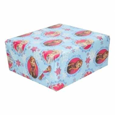 Disney inpakpapier/cadeaupapier frozen lichtblauw 200 x 70 cm