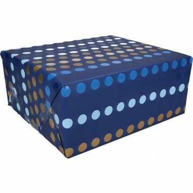 Inpakpapier blauw met stippen motief 200 x 70 cm op rol type 4
