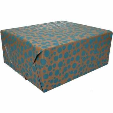 Inpakpapier bruin blauwe stippen print 200 x 70 cm op rol