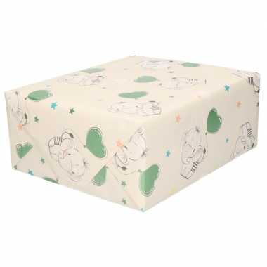 Inpakpapier/cadeaupapier baby olifant 200 x 70 cm
