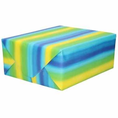 Inpakpapier/cadeaupapier blauw geel/groene strepen 200 x 70 cm