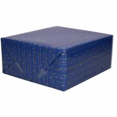 Inpakpapier/cadeaupapier blauw goudkleurige streepjes print 200 x 70 cm op rol