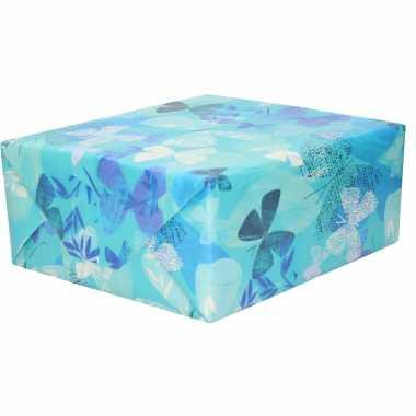Inpakpapier/cadeaupapier blauw wit/blauwe vlinders 200 x 70 cm