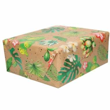 Inpakpapier/cadeaupapier bruin bloemen en bladeren urban nature 200 x 70 cm