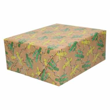 Inpakpapier/cadeaupapier bruin cactus met lichtjes 200 x 70 cm