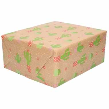 Inpakpapier/cadeaupapier bruin cactus print 200 x 70 cm op rol