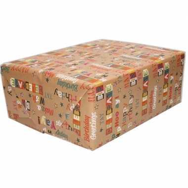 Inpakpapier/cadeaupapier bruin happy birthday 200 x 70 cm op rol