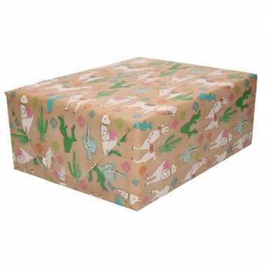 Inpakpapier/cadeaupapier bruin met alpaca print 200 x 70 cm rol