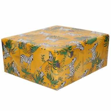Inpakpapier/cadeaupapier bruin met zebra design 200 x 70 cm