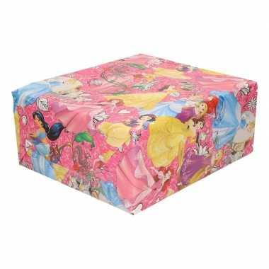 Inpakpapier/cadeaupapier disney princess 200 x 70 cm roze