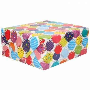 Inpakpapier/cadeaupapier gekleurde ballonnen design 200 x 70 cm op rol