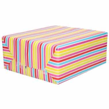Inpakpapier/cadeaupapier gekleurde strepen design 200 x 70 cm op rol