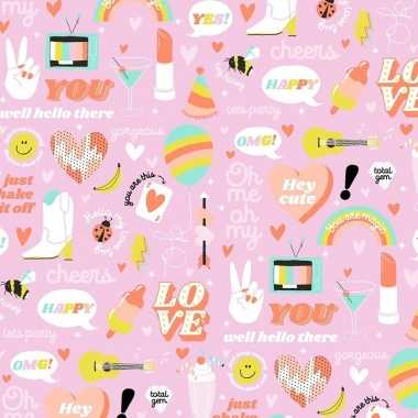 Inpakpapier/cadeaupapier girlpower 200 x 70 cm roze