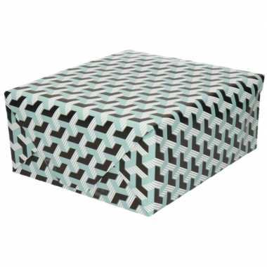 Inpakpapier/cadeaupapier grafische print 200 x 70 cm zwart/blauw