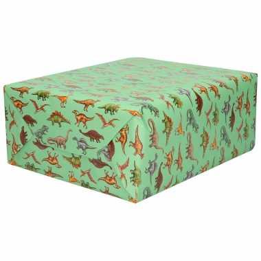 Inpakpapier/cadeaupapier groen dinosaurussen 200 x 70 cm