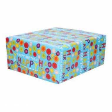Inpakpapier/cadeaupapier happy birtday gekleurde ballen design 200 x 70 cm op rol