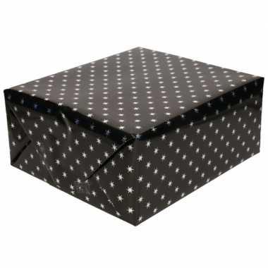 Inpakpapier/cadeaupapier holografisch zwart sterren 150 x 70 cm