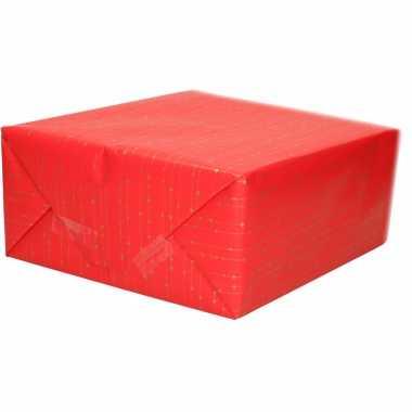 Inpakpapier/cadeaupapier rood goudkleurige streepjes print 200 x 70 cm op rol