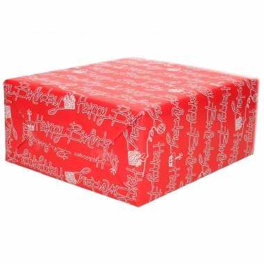 Inpakpapier/cadeaupapier rood met happy birthday tekst print 200 x 70 cm op rol