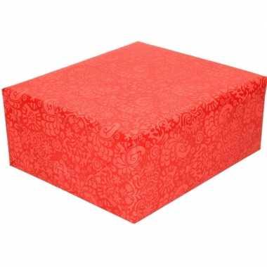 Inpakpapier/cadeaupapier rood motief 200 x 70 cm